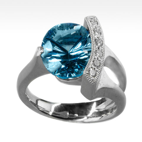 """Poise"" Electric Blue Topaz Ring with Ideal Cut Diamonds in 14k White Gold"