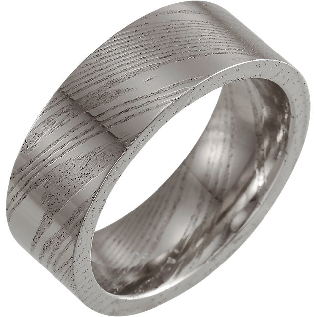 Polished Flat Band Damascus Steel 8 mm Wood Grain Band - Lyght Jewelers 10040 W Cheyenne Ave Ste 160 Las Vegas NV 89129