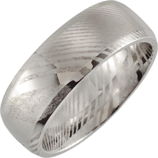 Polished Rounded Band With Beveled Edge Damascus Steel 8 mm Wood Grain Band