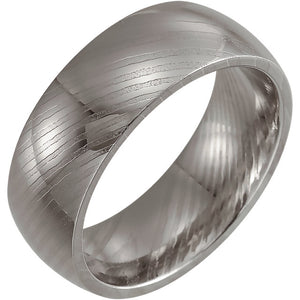 Polished Rounded Damascus Steel Band 8 mm Wood Grain Band - Lyght Jewelers 10040 W Cheyenne Ave Ste 160 Las Vegas NV 89129