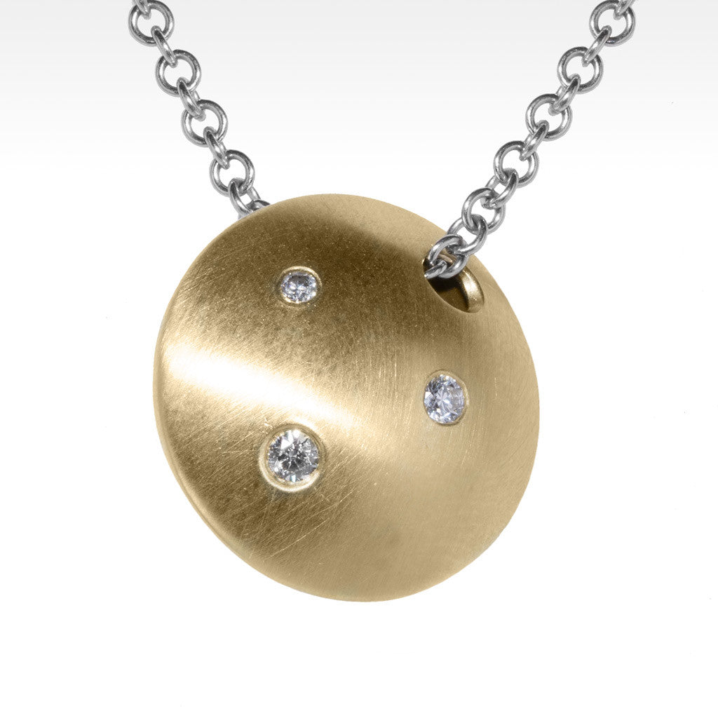 """Pulse"" White Diamonds Pendant in 18K Yellow Gold with 14K White Gold Chain - Lyght.com"