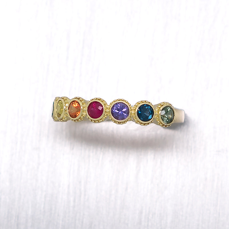 """Rainbow Bezel"" 7 Bezel Set Rainbow Sapphires in 14K Yellow Gold Ring - Lyght Jewelers 10040 W Cheyenne Ave Ste 160 Las Vegas NV 89129"