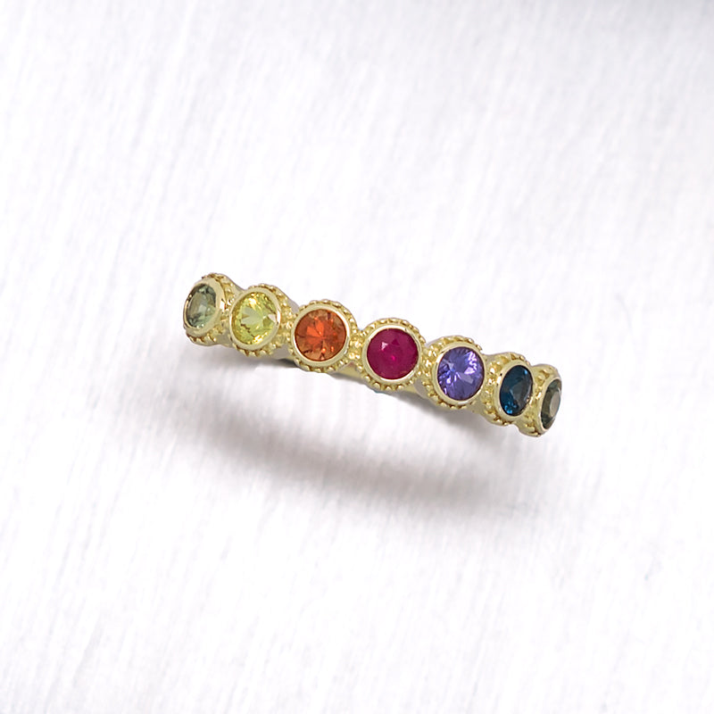 """Rainbow Bezel"" 7 Bezel Set Rainbow Sapphires in 14K Yellow Gold Ring - Lyght Fine Art and Jewelry 10040 W Cheyenne Ave Ste 160 Las Vegas NV 89129"
