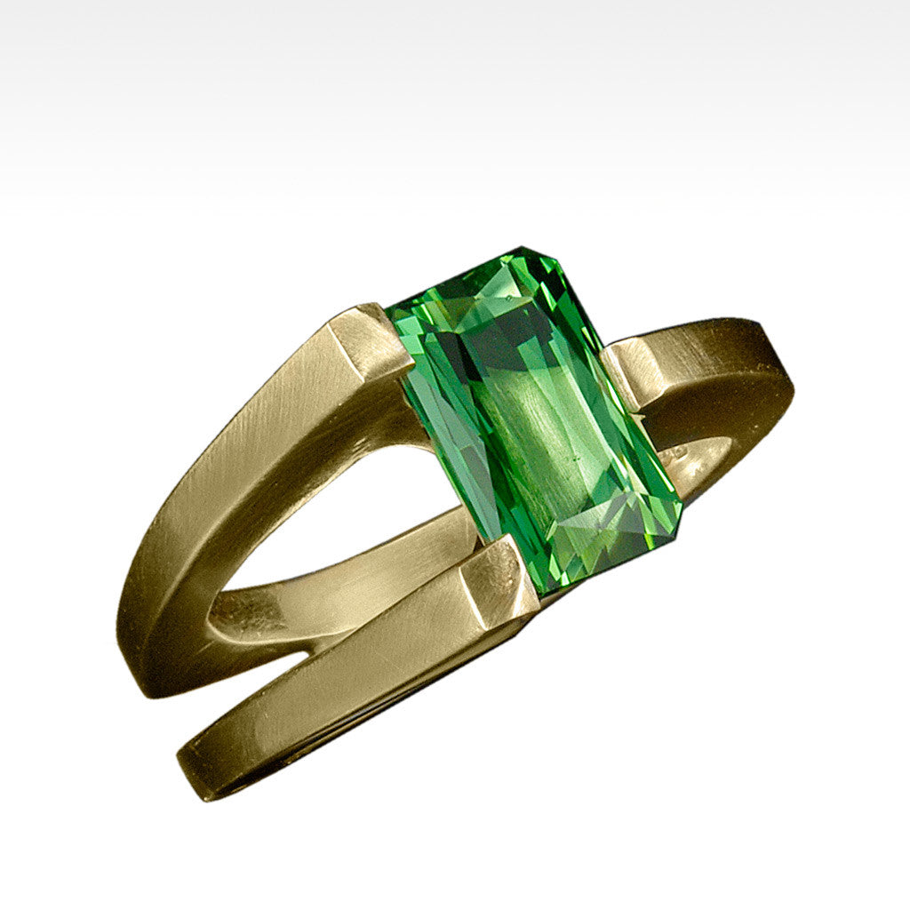 """Reconing"" Green Tourmaline Ring in 14K Yellow Gold - Lyght.com"