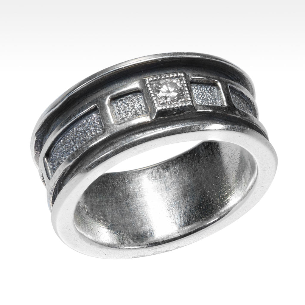 """Relic"" White Diamond Ring in Ancient Finished Argentium Silver - Lyght.com"