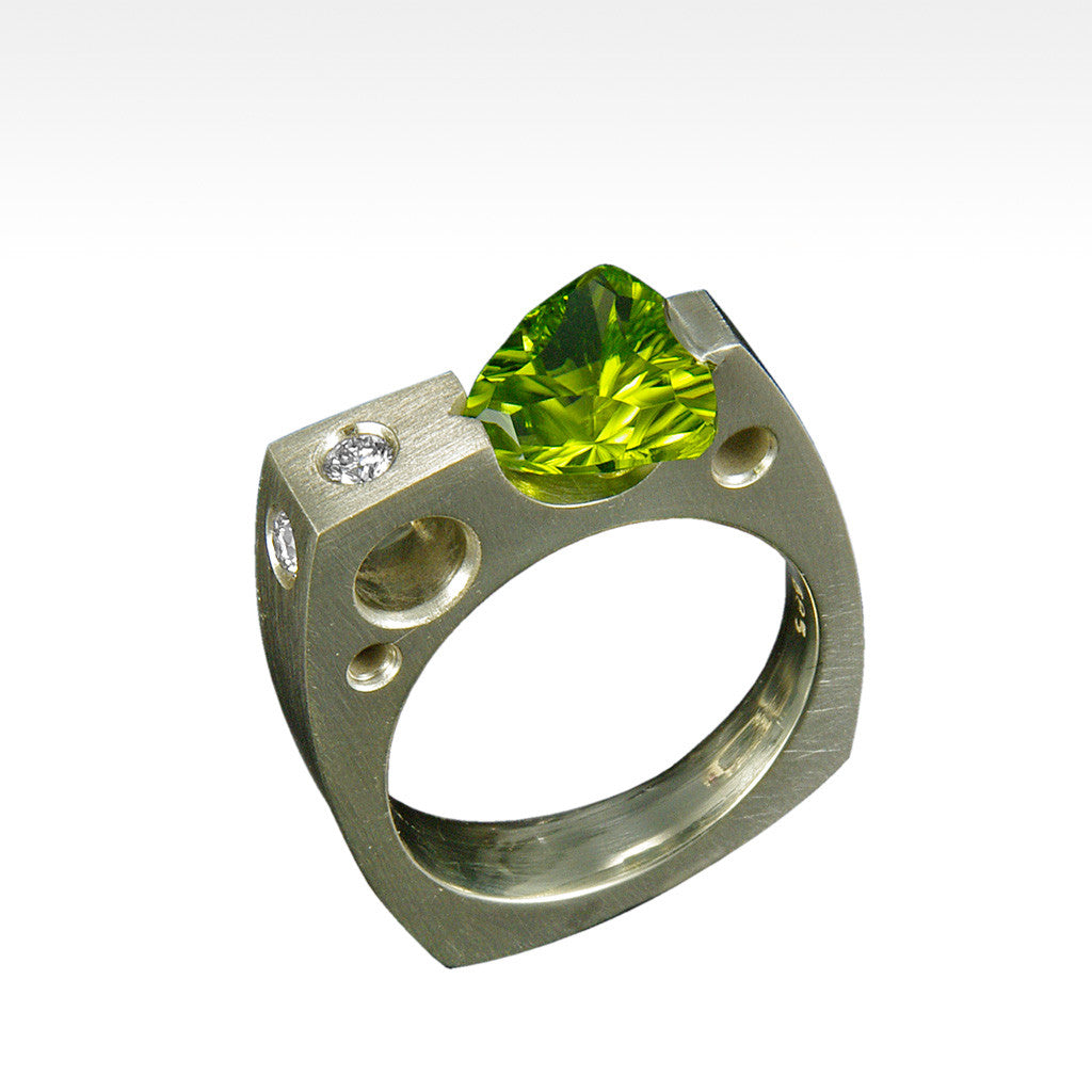 """Requisite"" Trillion Cut Peridot Ring with Ideal Cut Diamonds in 14 Karat Green Gold - Lyght.com"