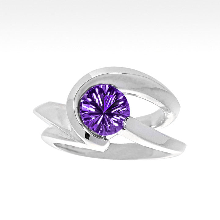 """Risqué"" Amethyst Ring in Argentium Silver - Lyght Fine Art and Jewelry 10040 W Cheyenne Ave Ste 160 Las Vegas NV 89129"