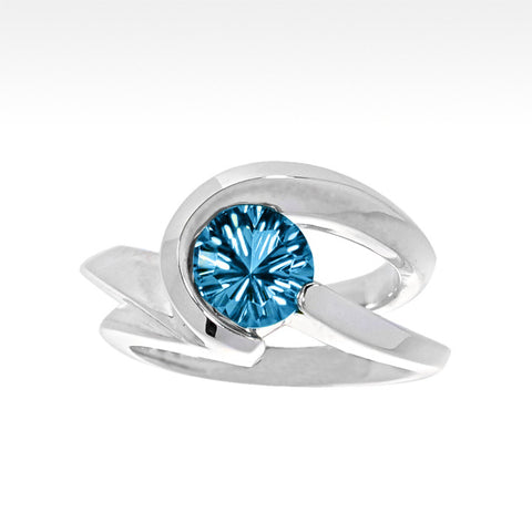 """Aqua Trance"" Antero Aquamarine Ring with Ideal Cut Diamonds in 14K White Gold"