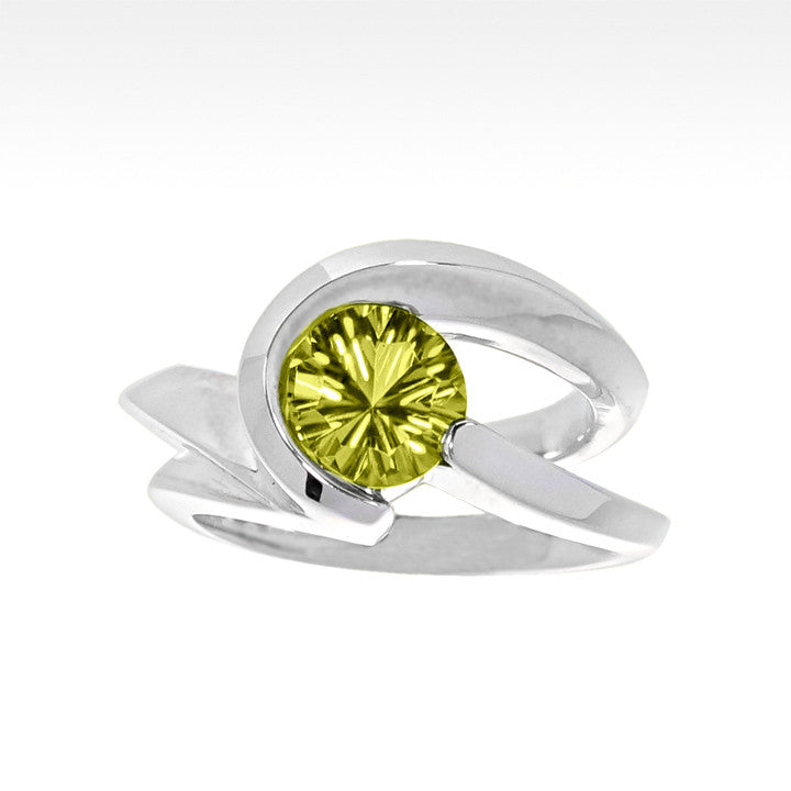 """Risqué"" Lemon Quartz Ring in Argentium Silver - Lyght Fine Art and Jewelry 10040 W Cheyenne Ave Ste 160 Las Vegas NV 89129"