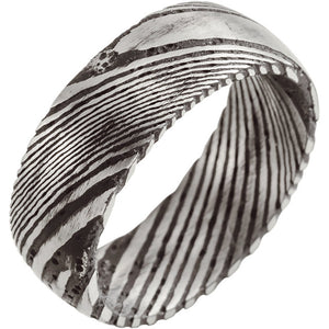 Sanded Black Rounded Band Damascus Steel 8 mm Wood Grain Band - Lyght Jewelers 10040 W Cheyenne Ave Ste 160 Las Vegas NV 89129