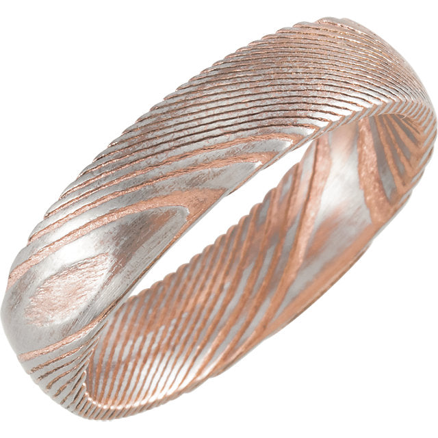 Sanded Rose Gold Rounded Band Damascus Steel 6 mm Wood Grain Band - Lyght Jewelers 10040 W Cheyenne Ave Ste 160 Las Vegas NV 89129