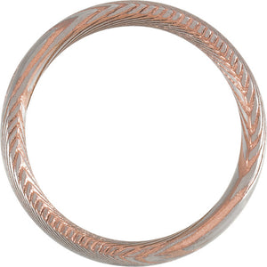 Sanded Rose Gold Rounded Band Damascus Steel 6 mm Wood Grain Band