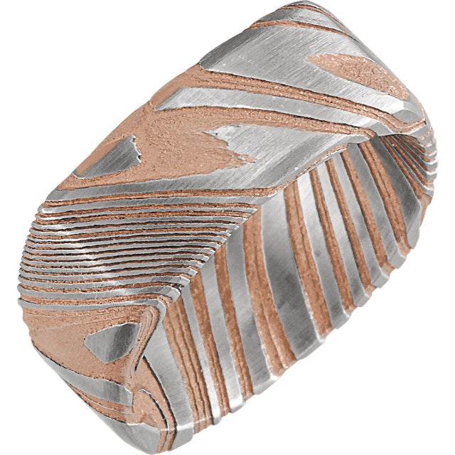 Sanded Rose Gold Square Band Damascus Steel 8 mm Wood Grain Band