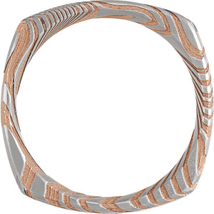 Sanded Rose Gold Square Band Damascus Steel 8 mm Wood Grain Band - Lyght Jewelers 10040 W Cheyenne Ave Ste 160 Las Vegas NV 89129