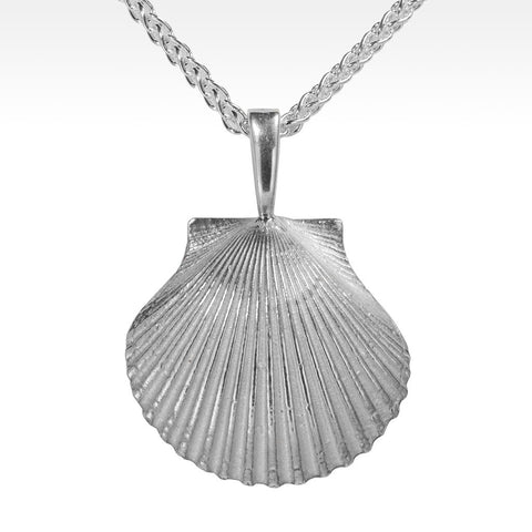 """Scallop"" Argentium Silver Pendant with Necklace"