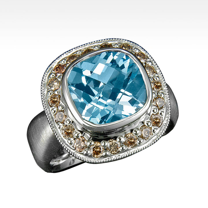 """Scarlett"" Sky Blue Topaz Ring with Chocolate Diamonds in 18K White Gold - Lyght Jewelers 10040 W Cheyenne Ave Ste 160 Las Vegas NV 89129"