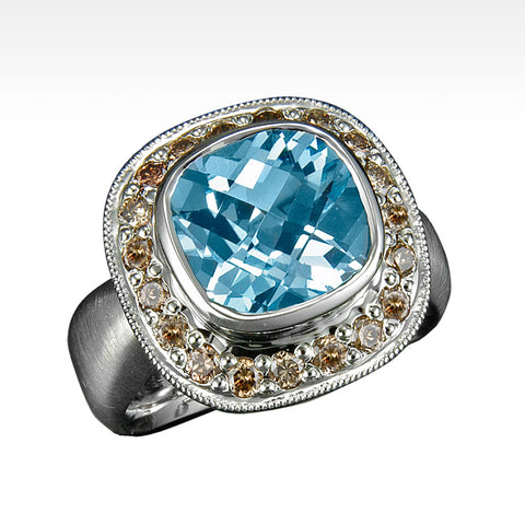 """Scarlett"" Sky Blue Topaz Ring with Chocolate Diamonds in 18K White Gold"
