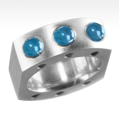 """Sleek"" 6 Electric Blue Topaz Cabachon Ring in Argentium Silver"