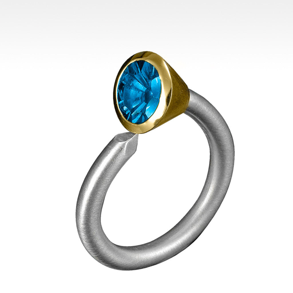 """Spike"" Blue Topaz Ring in 14 Karat Yellow Gold Bezel Setting and Argentium Silver - Lyght Jewelers 10040 W Cheyenne Ave Ste 160 Las Vegas NV 89129"