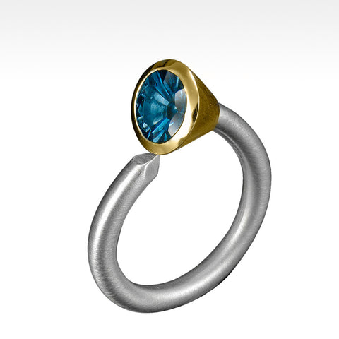 """Spike"" Cambodian Blue Zircon Ring in 14K Yellow Gold Bezel Setting and Argentium Silver"