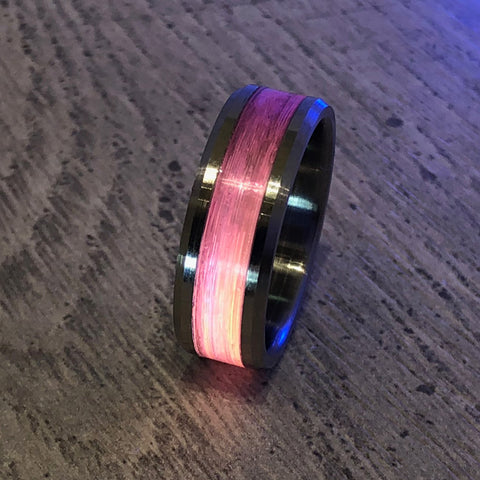 """Gone Fishing"" Pink Monofilament Beveled Edge Glow Ring - Lyght Fine Art and Jewelry 10040 W Cheyenne Ave Ste 160 Las Vegas NV 89129"