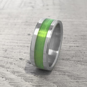 """Gone Fishing"" Green Monofilament Beveled Edge Glow Ring - Lyght Jewelers 10040 W Cheyenne Ave Ste 160 Las Vegas NV 89129"