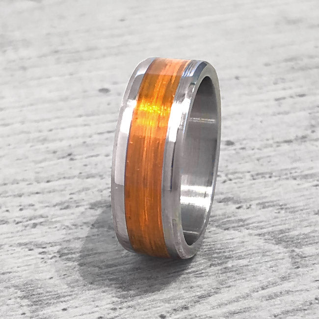 """Gone Fishing"" Orange Monofilament Beveled Edge Glow Ring - Lyght Fine Art and Jewelry 10040 W Cheyenne Ave Ste 160 Las Vegas NV 89129"
