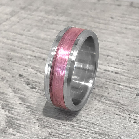 """Gone Fishing"" Pink Monofilament Beveled Edge Glow Ring"