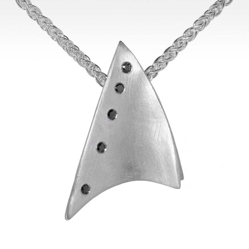 """Starboard"" Black Diamond Pendant in Argentium Silver - Lyght Fine Art and Jewelry 10040 W Cheyenne Ave Ste 160 Las Vegas NV 89129"