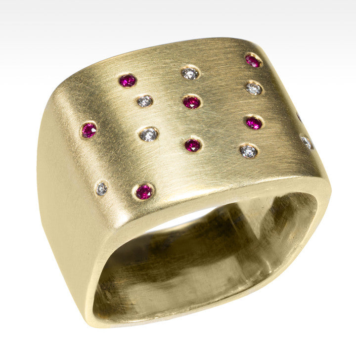 """Stardust"" Diamond and Ruby Ring in 14K Yellow Gold - Lyght Jewelers 10040 W Cheyenne Ave Ste 160 Las Vegas NV 89129"
