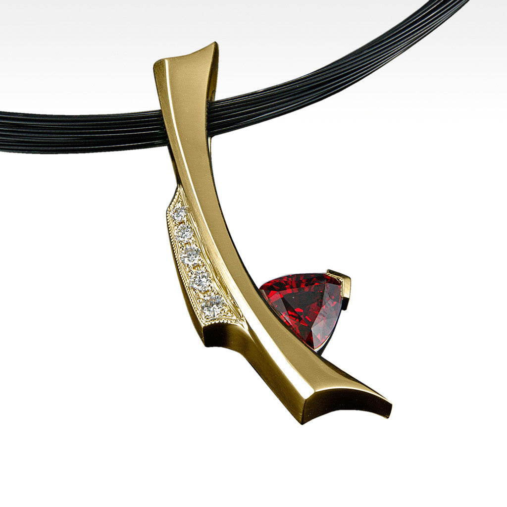 """Stiletto"" Spessartite Garnet with Diamonds in 14K Yellow Gold with Chain - Lyght.com"