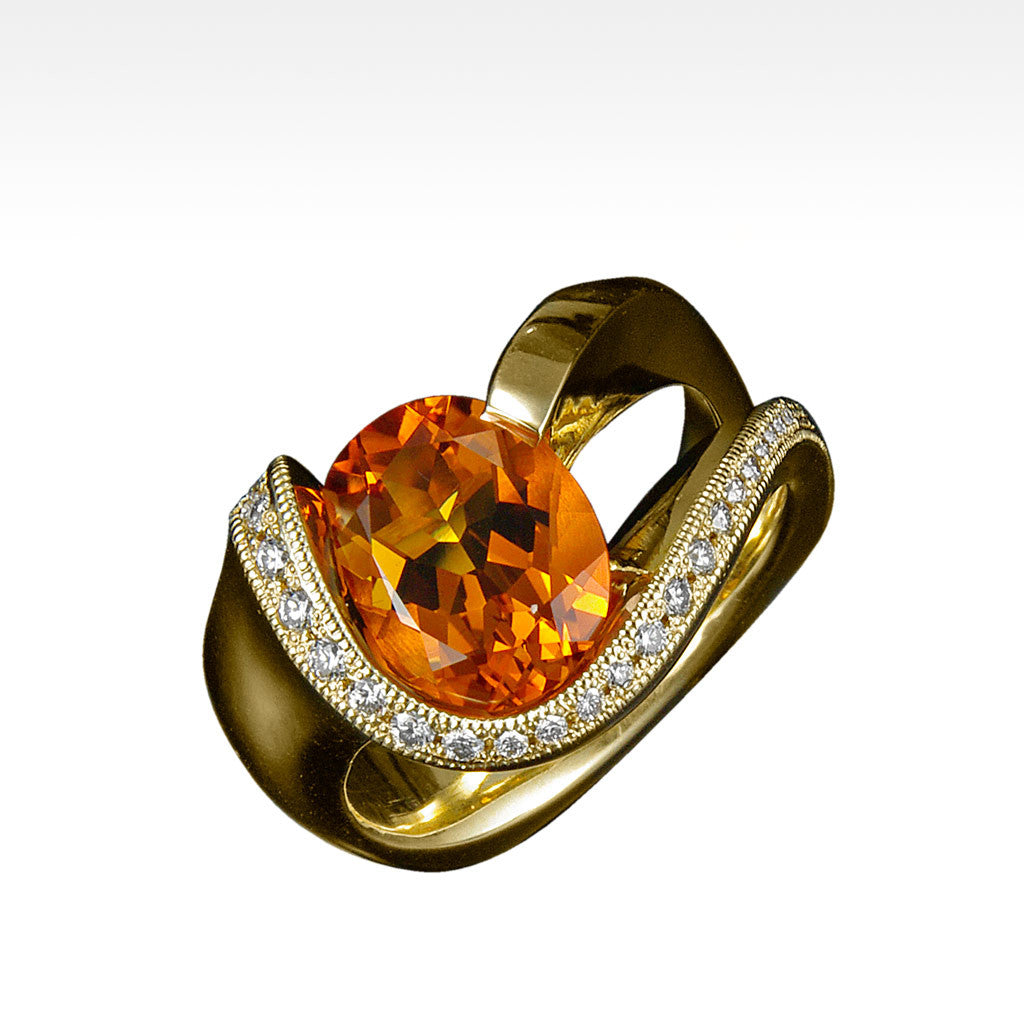 """Suave"" Maderia Citrine with Ideal Cut Diamonds in 18K Yellow Gold - Lyght.com"