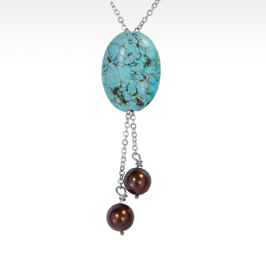 """Surf and Turf"" Turquoise and Chocolate Pearl Pendant with Sterling Silver Necklace - Lyght.com"