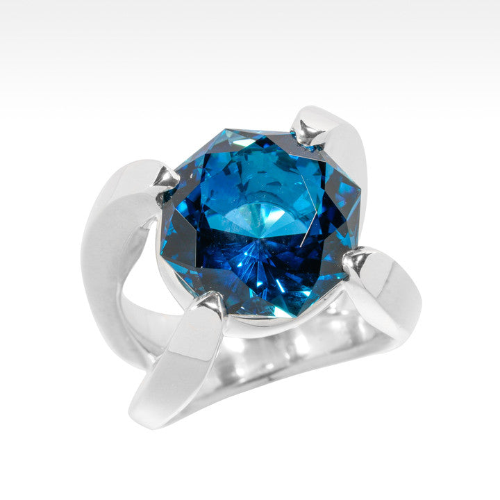 """The Grail"" Impressive London Blue Topaz in Argentium Silver - Lyght.com"
