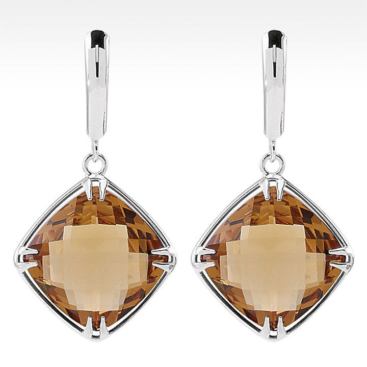 """Tajin"" Cushion Cut Honey Quartz Earrings in Sterling Silver - Lyght Jewelers 10040 W Cheyenne Ave Ste 160 Las Vegas NV 89129"