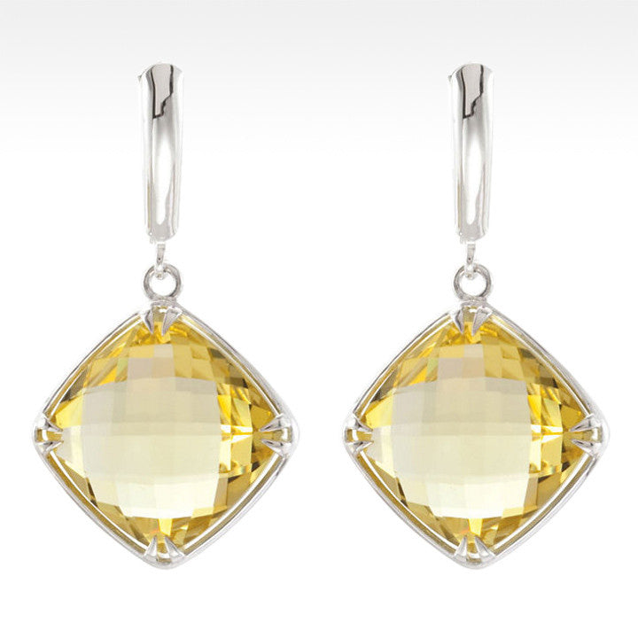 """Tajin"" Cushion Cut Lemon Quartz Earrings in Sterling Silver - Lyght.com"