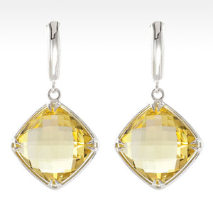 """Tajin"" Cushion Cut Lemon Quartz Earrings in Sterling Silver - Lyght Jewelers 10040 W Cheyenne Ave Ste 160 Las Vegas NV 89129"
