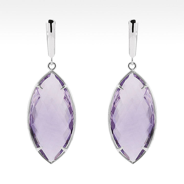"""Tajin Marquise"" Cushion Cut Rose De France Quartz Earrings in Sterling Silver - Lyght Jewelers 10040 W Cheyenne Ave Ste 160 Las Vegas NV 89129"
