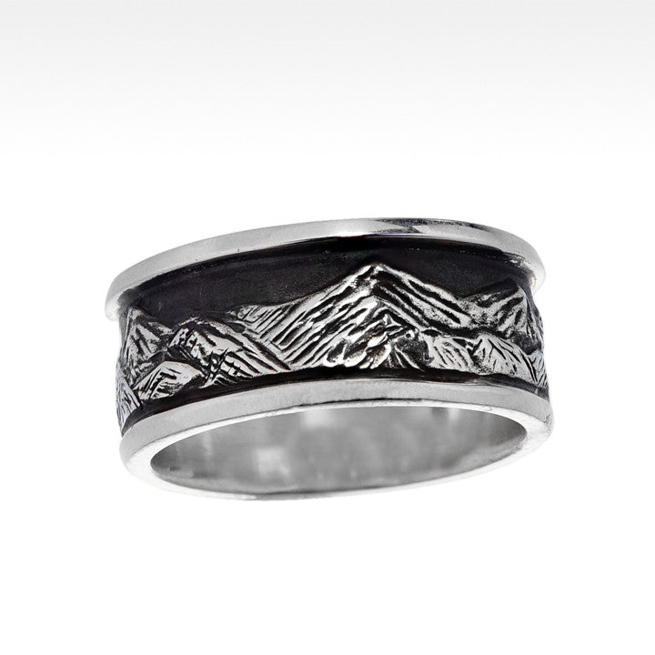 """Tall Peaks"" Wide Mountain Men's Ring in Argentium Silver - Lyght.com"