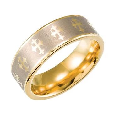 Tungsten & Gold Plated Cross Ridged 8mm Band with Satin Finish