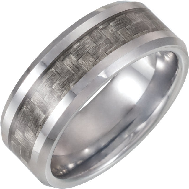 Tungsten with Grey Carbon Fiber Inlay 8mm Band - Lyght Jewelers 10040 W Cheyenne Ave Ste 160 Las Vegas NV 89129
