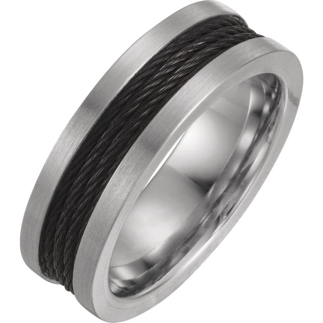 Wired Inspired Cable Inlay Cobalt Round 7mm Band - Lyght Jewelers 10040 W Cheyenne Ave Ste 160 Las Vegas NV 89129