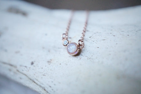 Dainty birthstone necklace in Solid Gold or Sterling silver