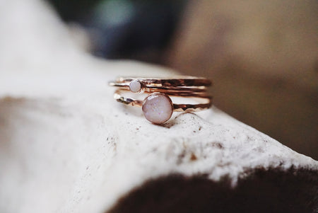 'Dainty' Opal and Rose Gold filled stacking rings