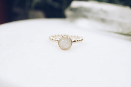 'Beaded Alina' ring in solid 14k gold or sterling silver
