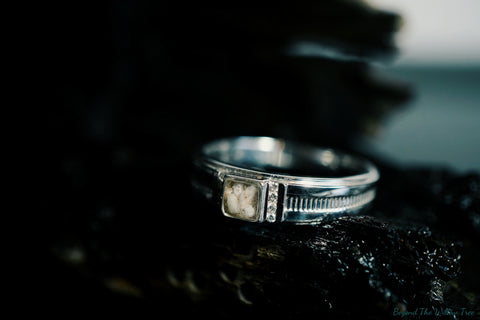 'Oneiroi' band with diamond detail in Gold or Sterling Silver