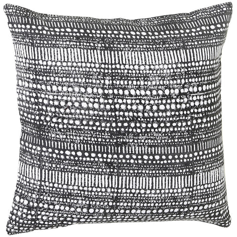 Anhad - Cushion - Khadi Cotton - Block Print - Black