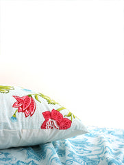 Anhad - Bed Linen - Single Bedsheet - Pillow - Cotton - Screen Print - Floral