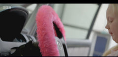 Barbie Pink fluffy steering wheel cover with little girl on Ali-A's supercharger