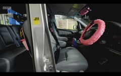 Barbie Pink fluffy steering wheel cover on Ali-A's supercharger